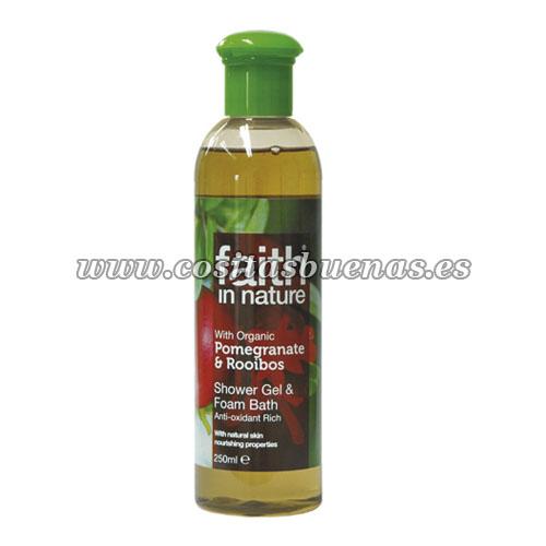 gel ecologico de ducha y baño de granada y rooibos