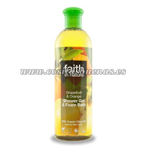 gel ecologico de ducha y baño de pomelo y naranja