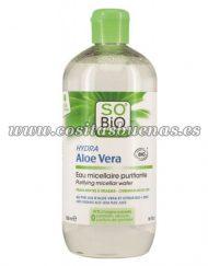 Agua micelar purificante para pieles mixtas y grasas SO'BIO ÉTIC Hydra Aloe Vera