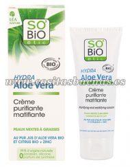 Crema purificante matificante para pieles mixtas y grasas SO'BIO ÉTIC Hydra Aloe Vera